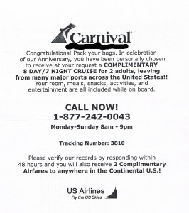 Carnival Cruise Voucher Scam