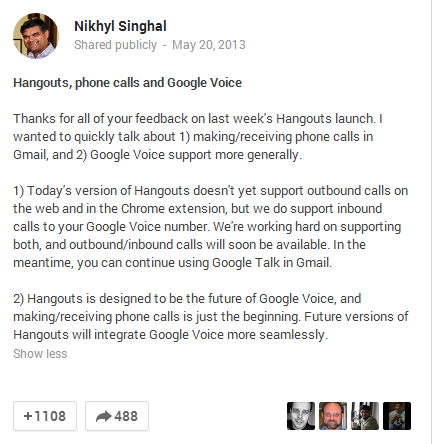 Google Hangouts kills the ability to place outbound calls