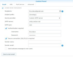 Synology NAS Verizon FiOS Email Settings