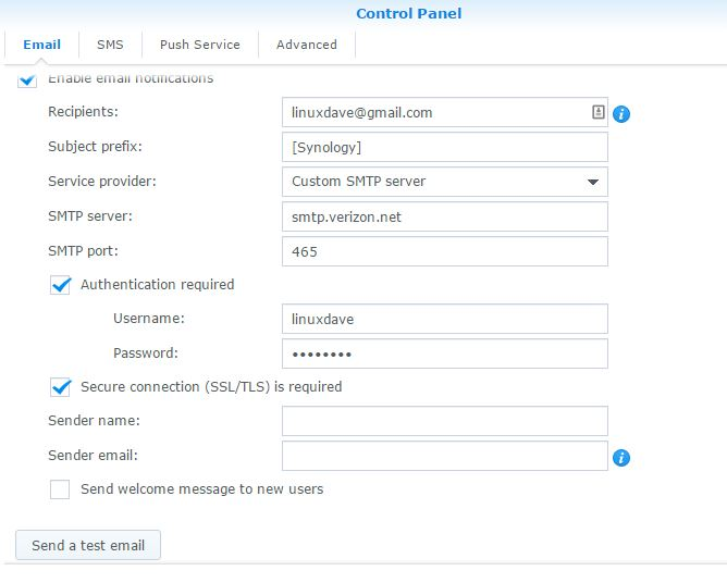 Synology NAS SMTP Email Settings for Verizon FiOS | The Modern Hoot